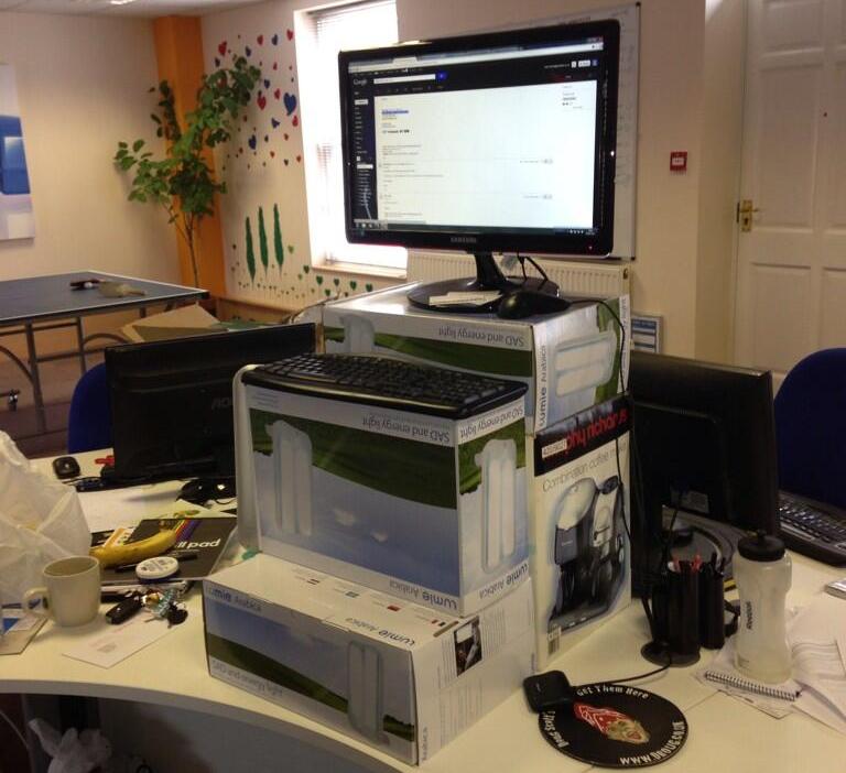 Matt Minton's cardboard stand up desk