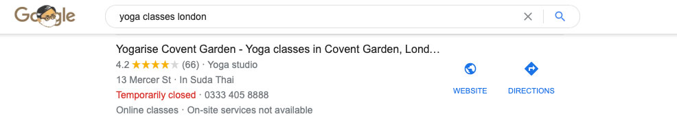 an example of a rich snippet within the search results - good for keyword research