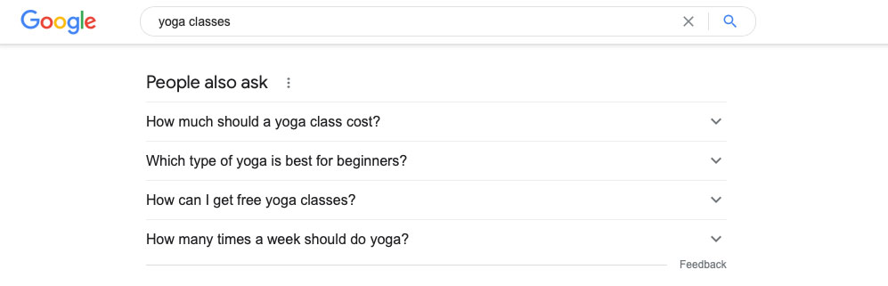 An example of how to use people also ask in google for keyword research