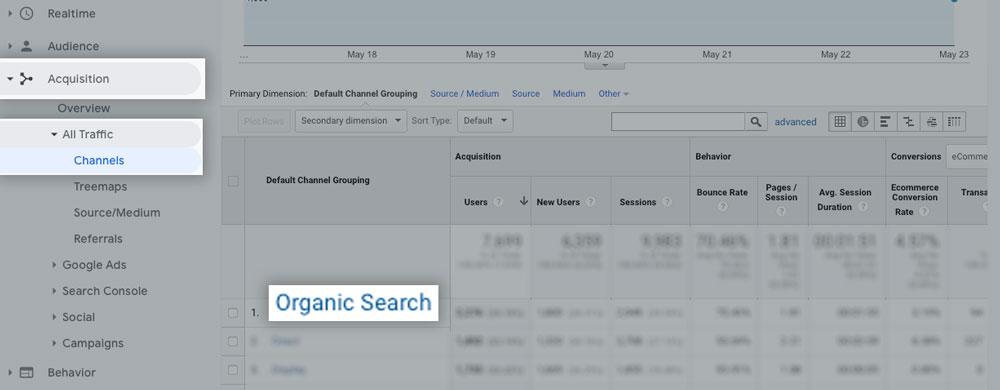 The organic search report on Google Analytics SEO Metrics