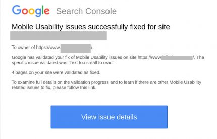 Email from Google Search Console about false positives being fixed
