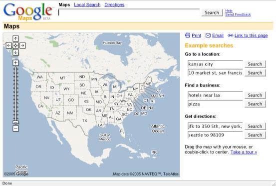 Screenshot of Google Maps in 2005.