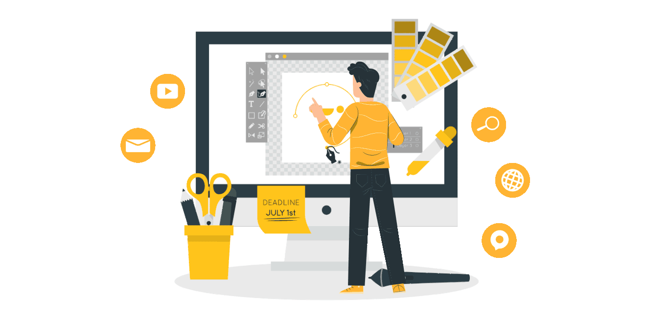 A graphic of a man using tools online to audit a website