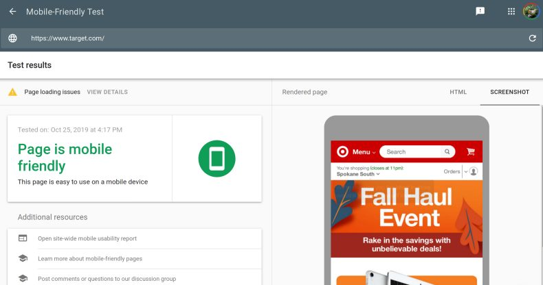 A screenshot of Google's Free SEO Tool: Mobile Friendly Test, using target.com as an example