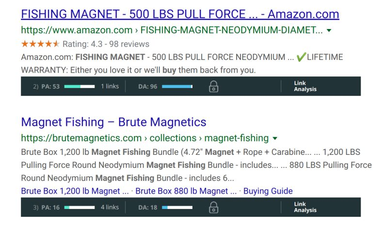An example of the results from a SERPs result