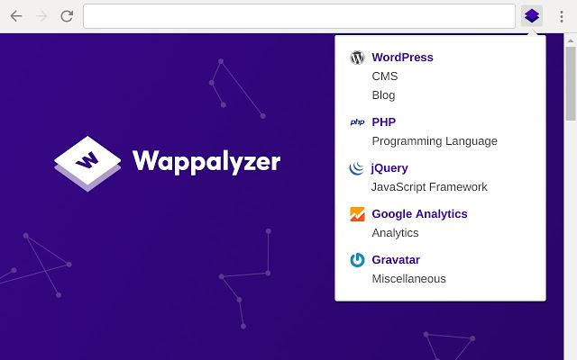 A screenshot of the Wappalyzer free SEO tool