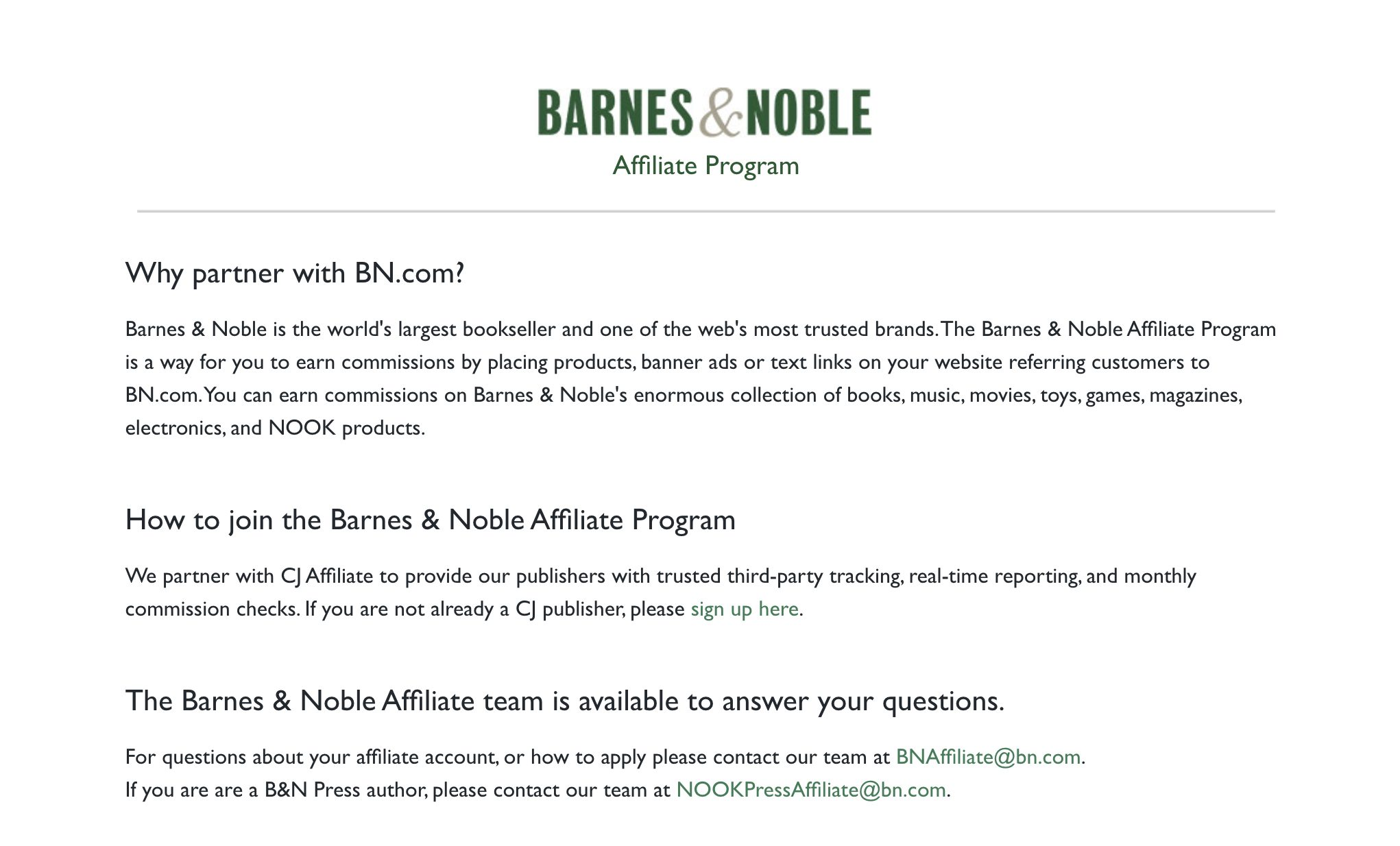 Barnes and Noble Affiliates
