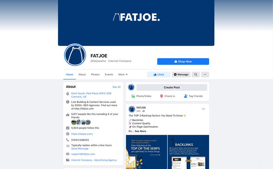 A Screenshot of a Facebook business account