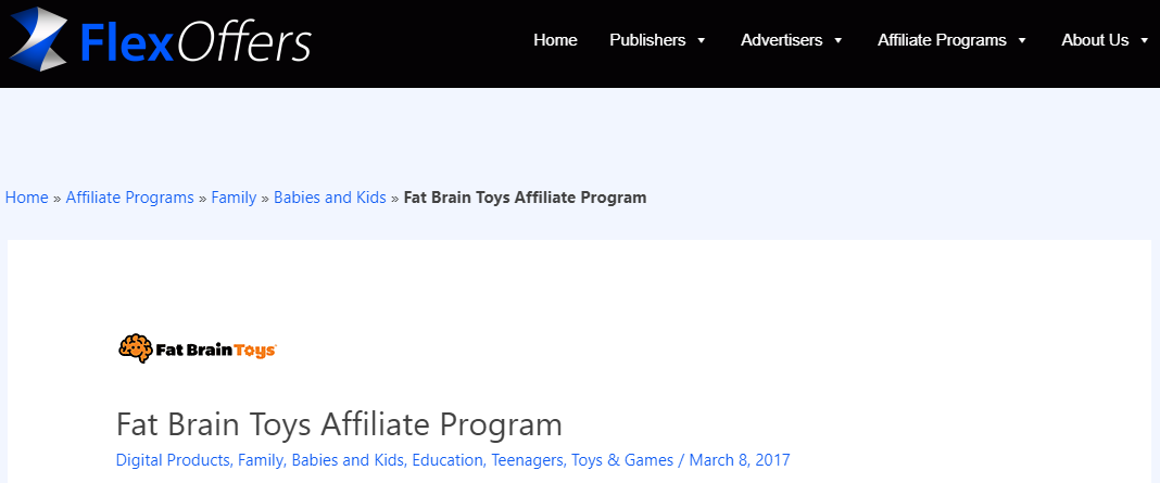 Flex Offers Fat Brain Affiliate Program