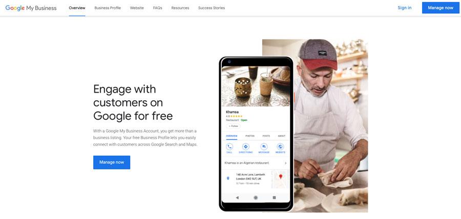A screenshot of Google My Business
