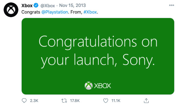 A screenshot of a twitter post from Xbox to Playstation which went viral