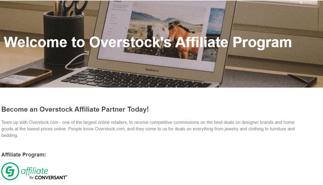 A screenshot of the overstock affiliate program