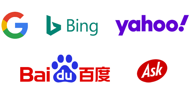 A collage of the logos of the most popular search engines