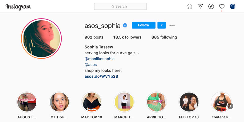 The instagram profile of ASOS Sophia, an ASOS influencer who has a dedicated ASOS account