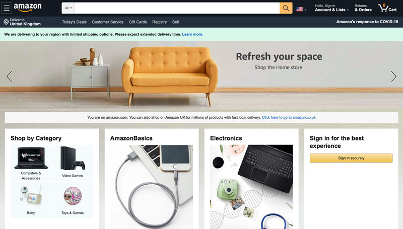 Screenshot of the Amazon homepage