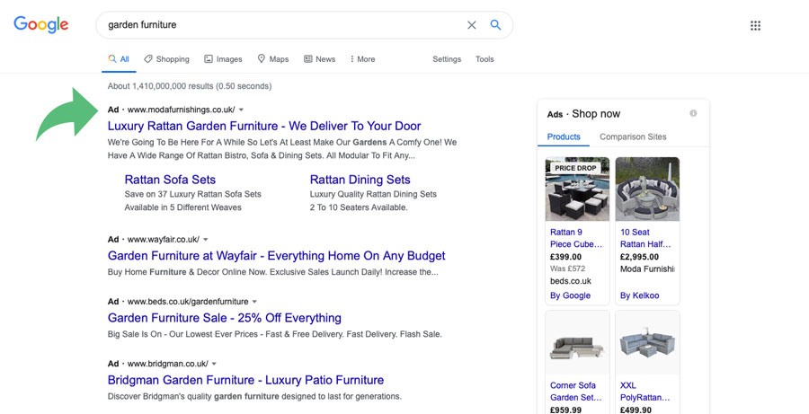 A screenshot of the SERPs for garden furniture showing the ad results that are skipped