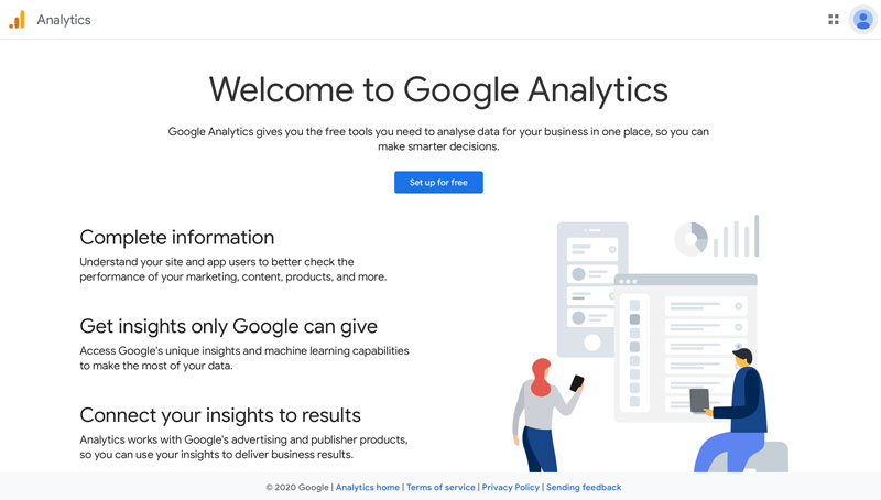 A screenshot of the main Google Analytics page