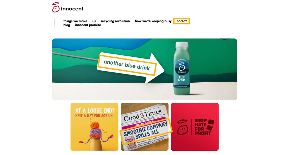 highlighting the language and tone of voice used by Innocent Smoothie on their website homepage