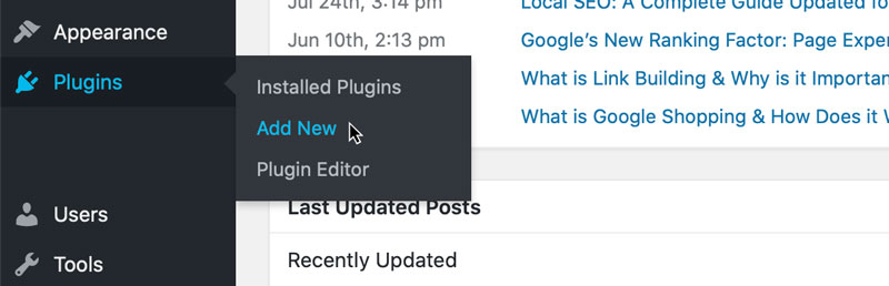 A screenshot showing where to add a new plugin to WordPress
