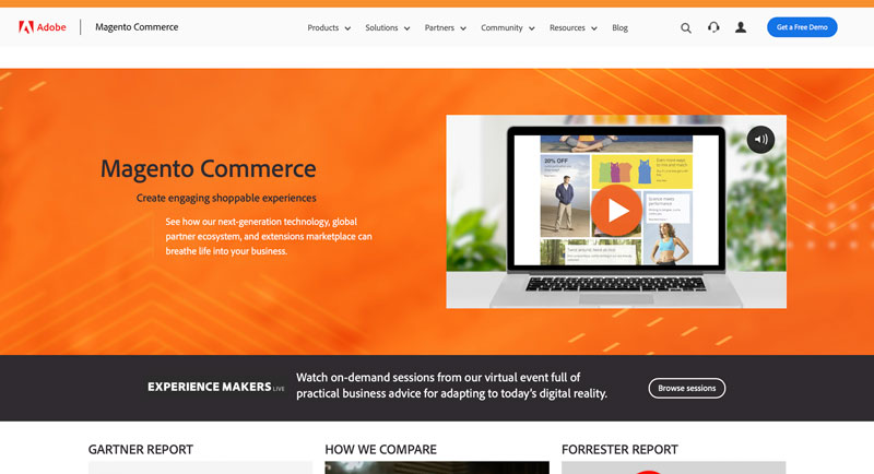 A screenshot of the Magento homepage