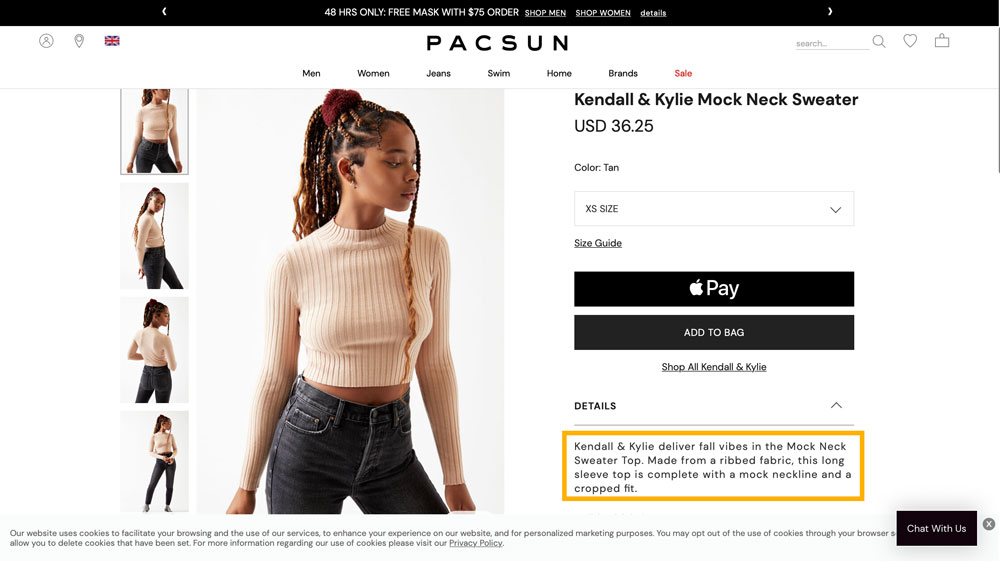 An image highlighting the language used by Pacsun to target teenage girls