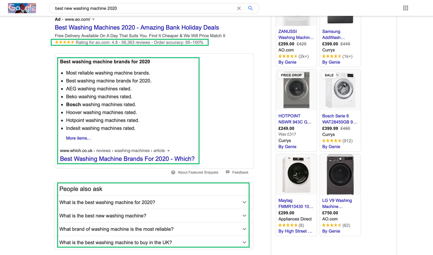 An image highlighting the various types of rich snippets that can be displayed in some Google searches