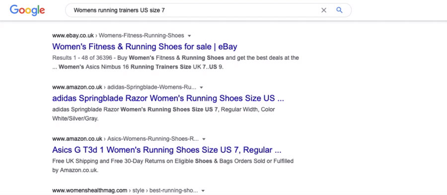 A screenshot of the SERPs results for men's running shoes