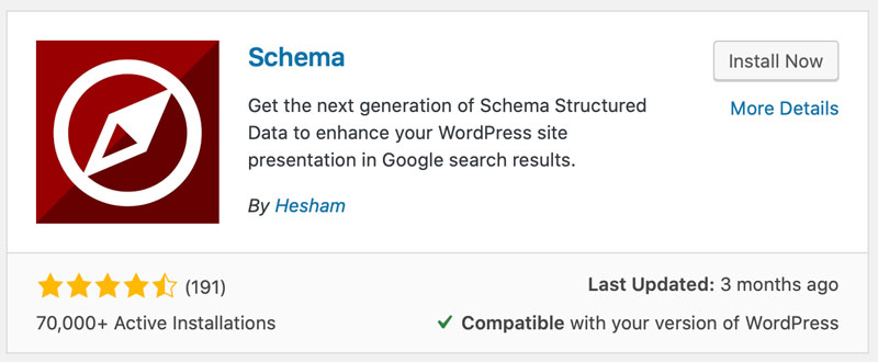 A screenshot of the schema plugin