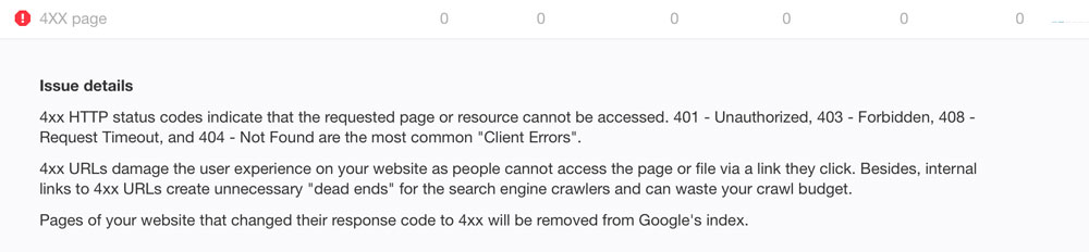 A screenshot of the explanation for 404 errors on the Ahrefs site audit report