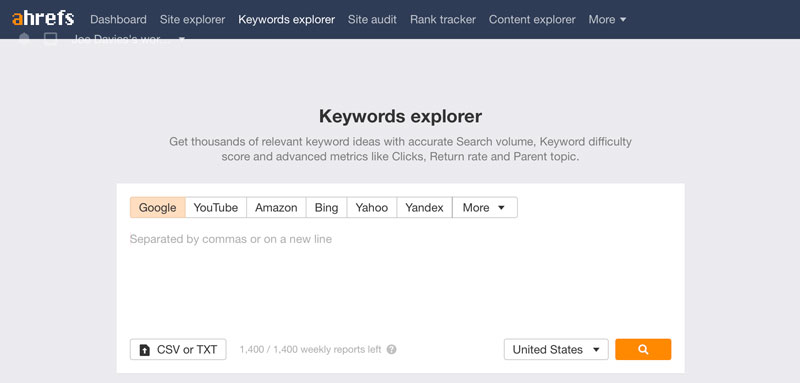 A screenshot of the Ahrefs keyword checker