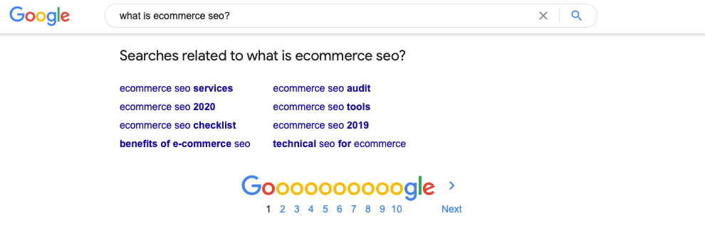 A screenshot of the searches related to 'what is ecommerce seo?'