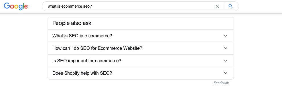 A screenshot of the Google suggested keywords for 'what is ecommerce seo?'
