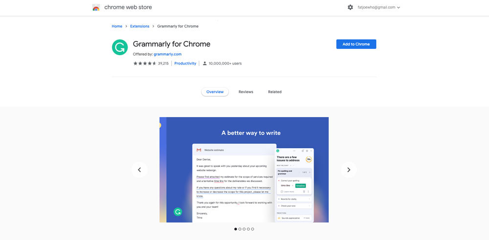 A screenshot of the Grammarly chrome extension
