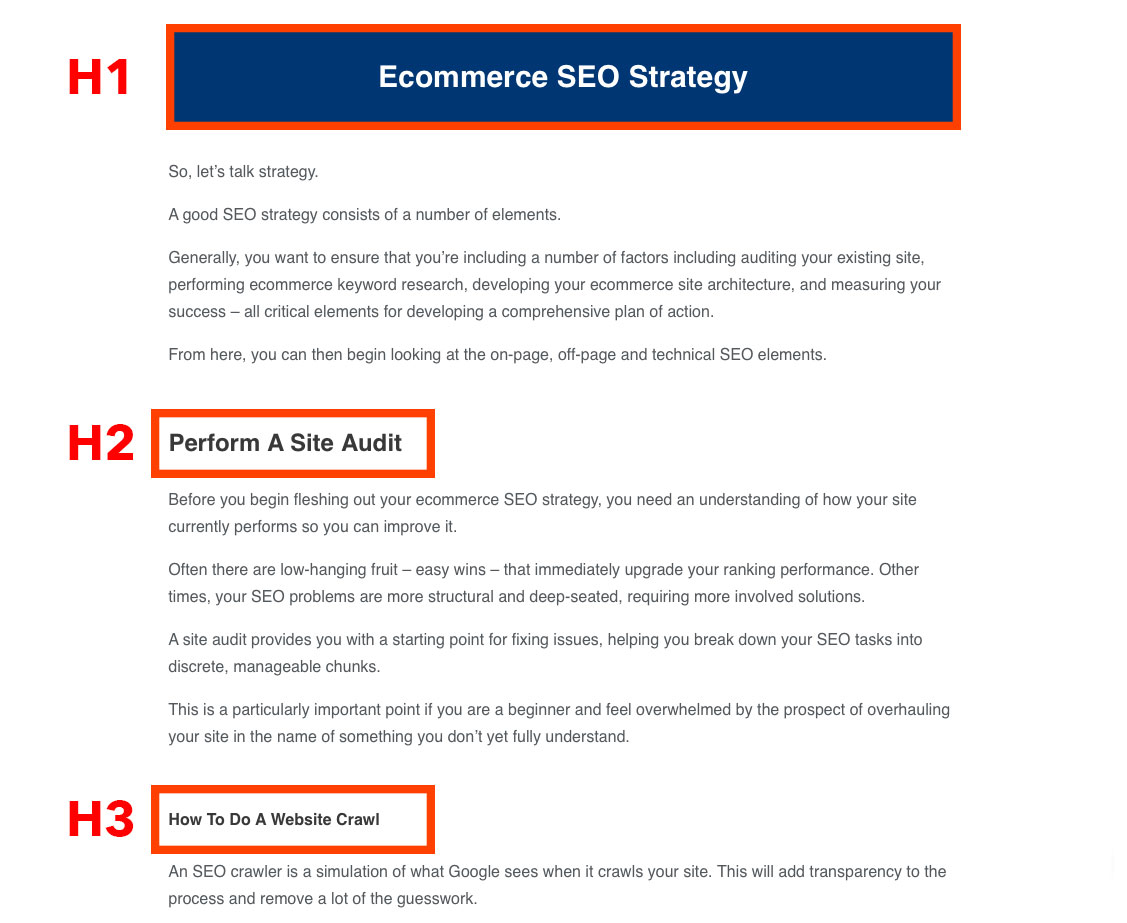 Heading tags screenshot within the ecommerce seo blog post