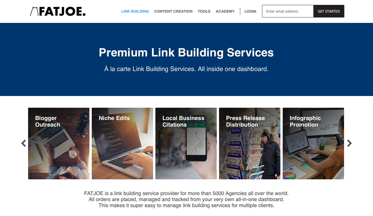 Premium Link Building services screenshot