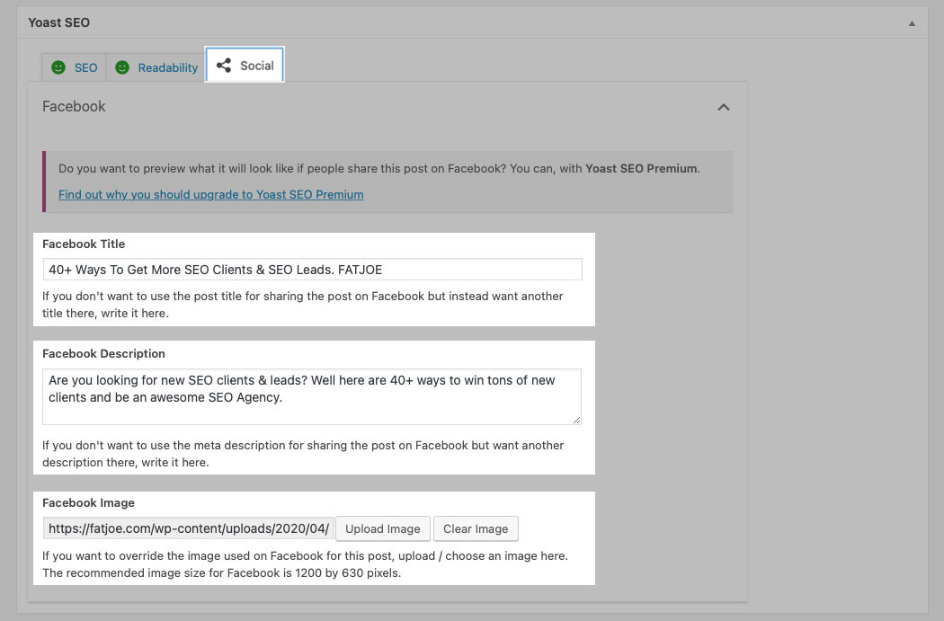 A screenshot of the Yoast SEO social details