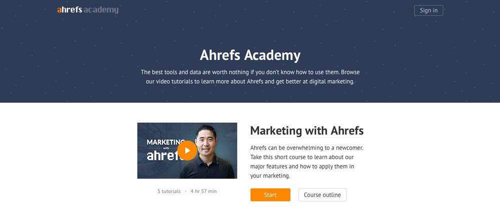 Ahrefs academy screenshot