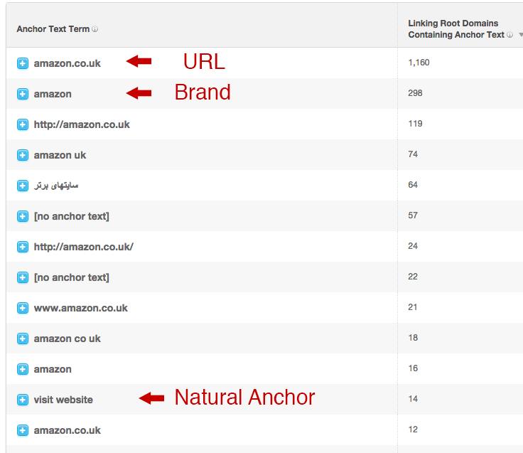 Explaining the difference between Url anchor text, branded anchor text and natural anchor text