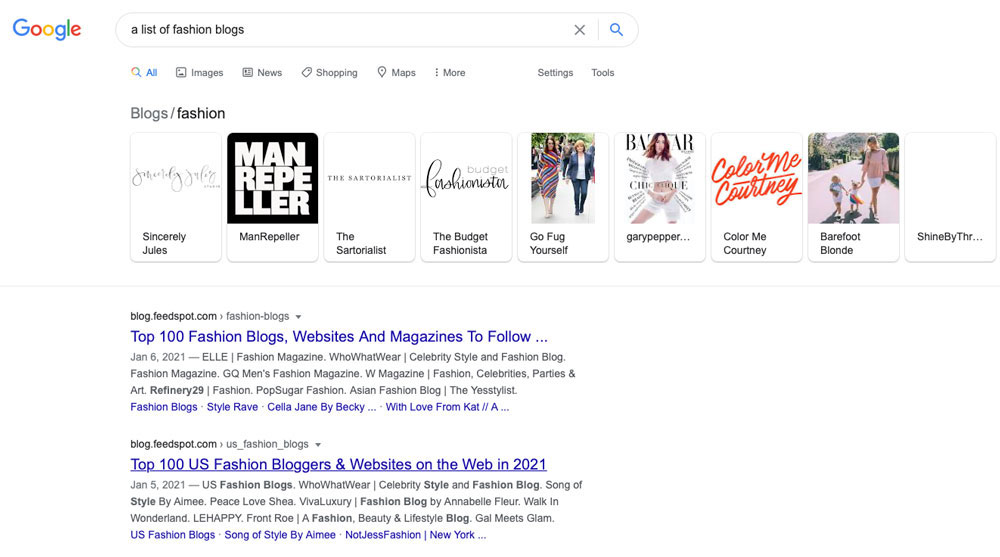 A screenshot of the Google search results when finding blogs for building backlinks