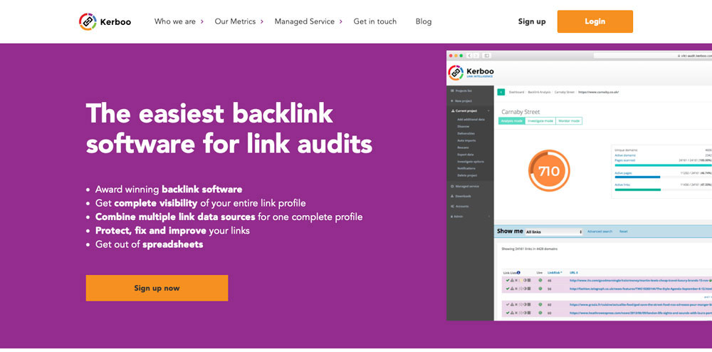 The Kerboo Backlink Tracker homepage