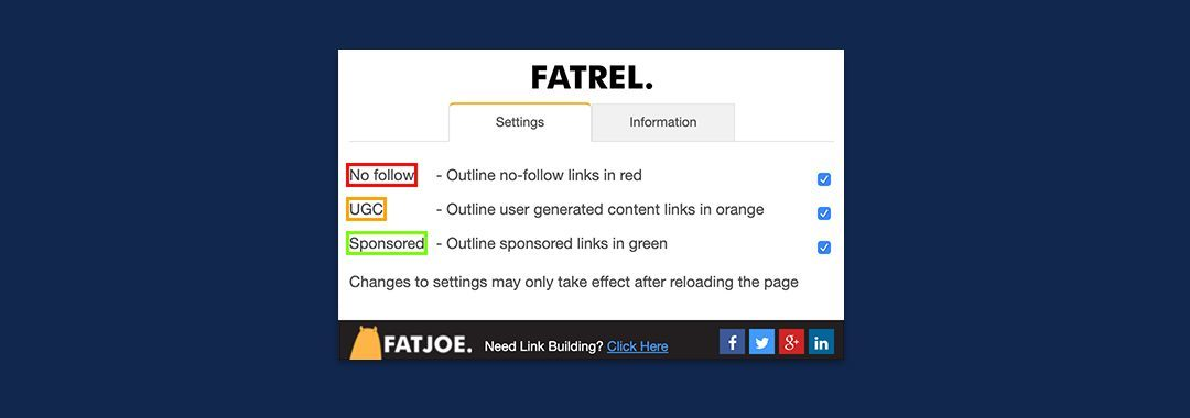 A screenshot of FATREL which a free tool that highlights nofollow, dofollow, and sponsored links