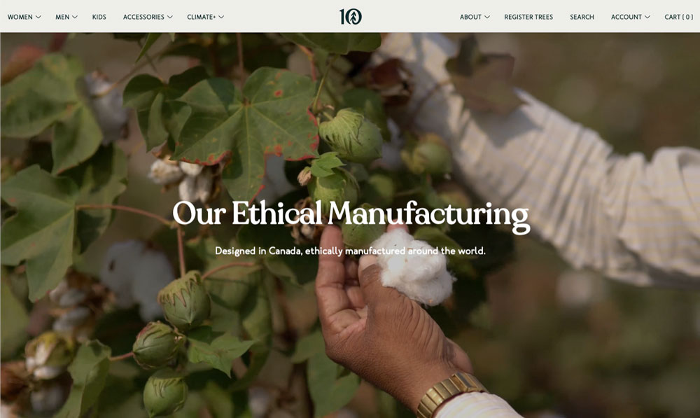 A screenshot of an ethical manufacturing brand to show how to communicate this through content marketing strategy
