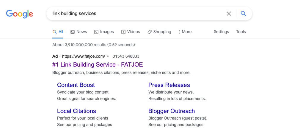 PPC example as part of a paid content marketing strategy
