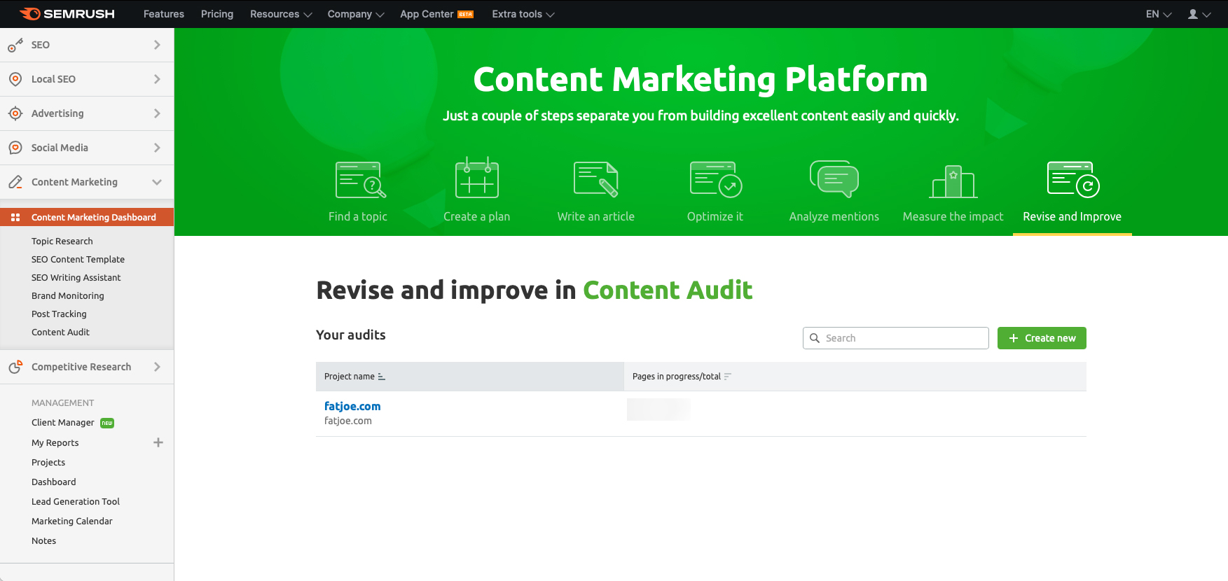 A screenshot of the SEMrush content audit platform which you can use for your content marketing strategy