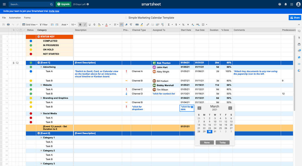 a screenshot of the Smartsheet template as part fo the content marketing strategy