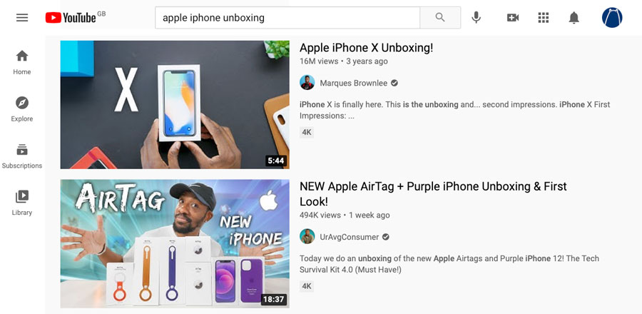 An example of an Apple unboxing video on YouTube as part of a content marketing strategy