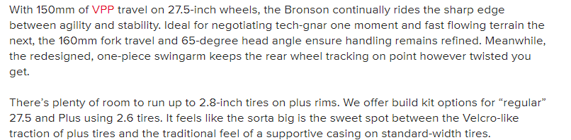 A product description from Santa Cruz selling its Bronson line of Mountain Bikes showcasing tone of voice.
