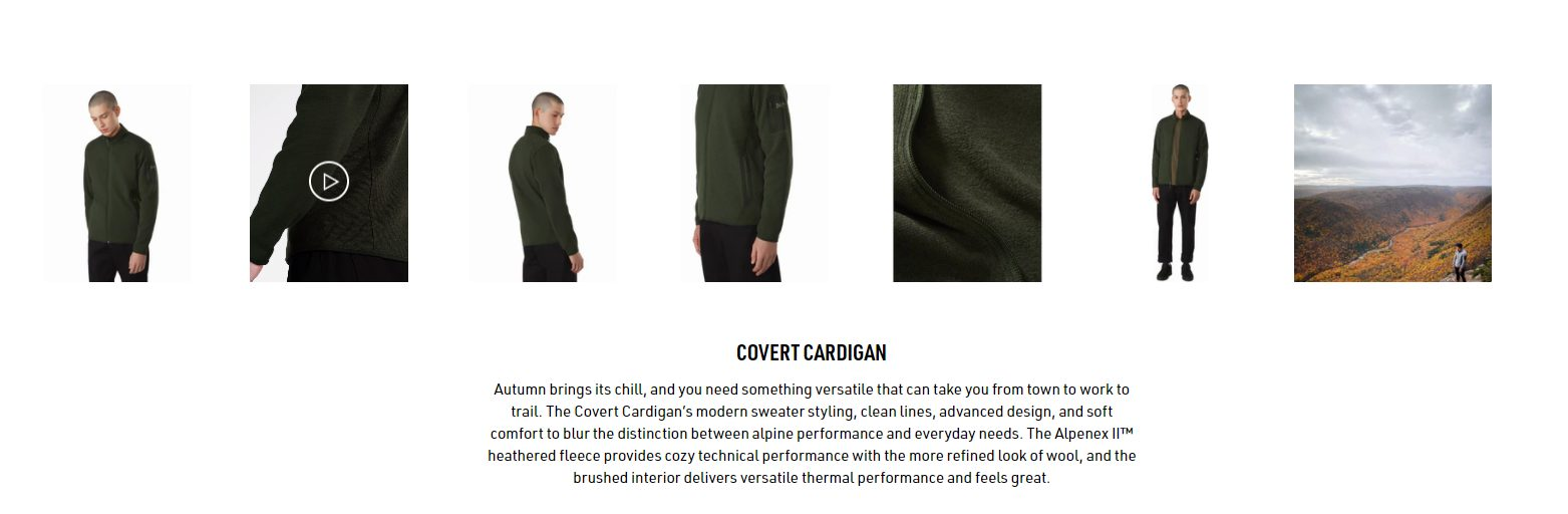 Another example of how power words are used in product descriptions to sell clothing